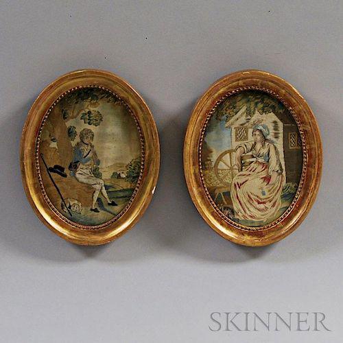 Pair of Oval Silk Needlework Figural Scenes