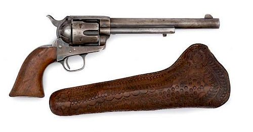 "Black Powder Colt Single-Action Army Revolver in Original ""Slim Jim"" Holster by J.F. Bond of Trinidad, CO"