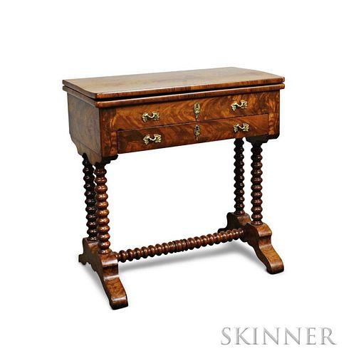 Victorian Mahogany and Mahogany Veneer Spool-turned Games Table