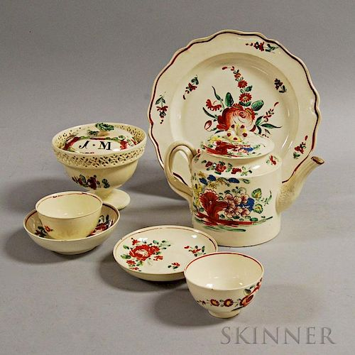 Seven Staffordshire Enameled Creamware Items
