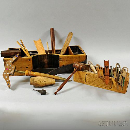 Group of Mostly Wooden Sewing Implements