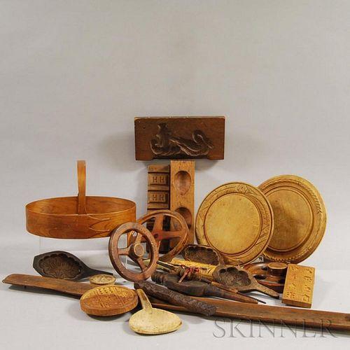 Twenty Wooden Domestic Items