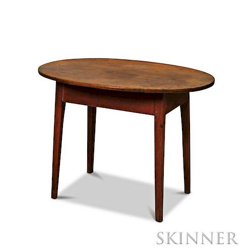 Red-stained Maple and Pine Oval-top Tea Table
