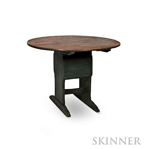 Green-painted Hutch Table