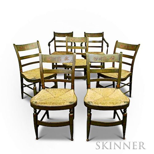 Set of Seven Paint-decorated Fancy Chairs