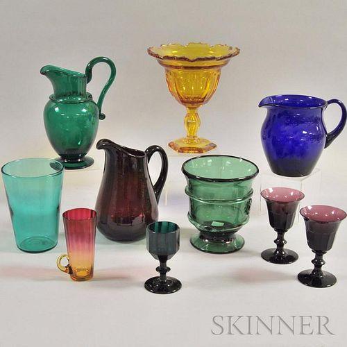 Ten Colored Glass Vessels