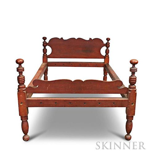 Red-painted Maple and Pine Low Post Bed