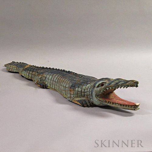 Carved and Painted Alligator
