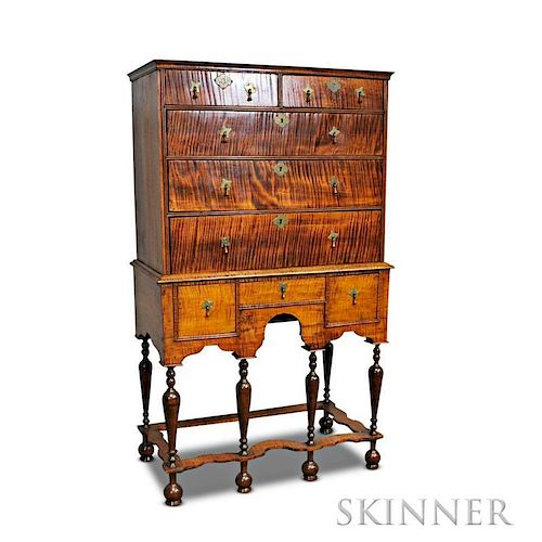 William & Mary Tiger Maple Flat-top High Chest