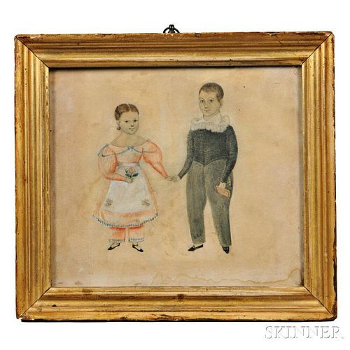 Framed Portrait Miniature of a Boy and Girl