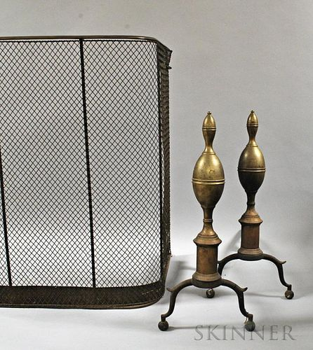 Pair of Brass and Iron Double Lemon-top Andirons and a Fender