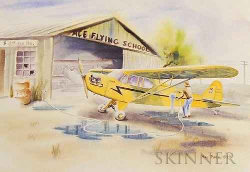 Mal Piper (American, 20th Century)       Ace Flying School.