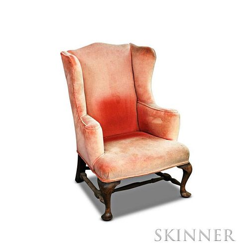 Child's Queen Anne-style Walnut Upholstered Wing Chair