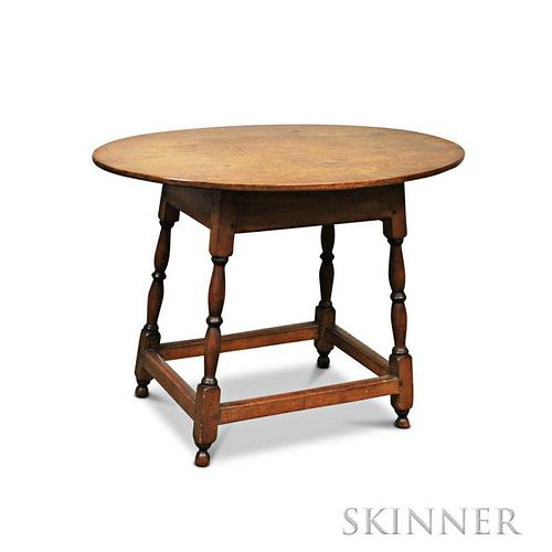 Turned Maple Oval-top One-drawer Tavern Table