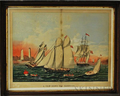Framed Haskell & Allen Colored Lithograph A Trip Down the Harbour