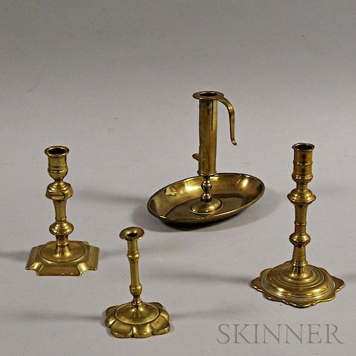 Four Brass Lighting Devices