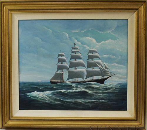 "Robert Lee Perry (Massachusetts/Maine, 1909-1991)       Portrait of the Clipper Lightning."""