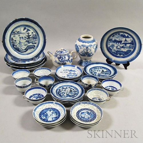 Approximately Thirty-six Pieces of Canton Blue and White Porcelain