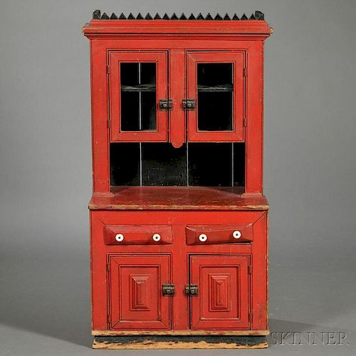 Miniature Red-painted Step-back Cupboard