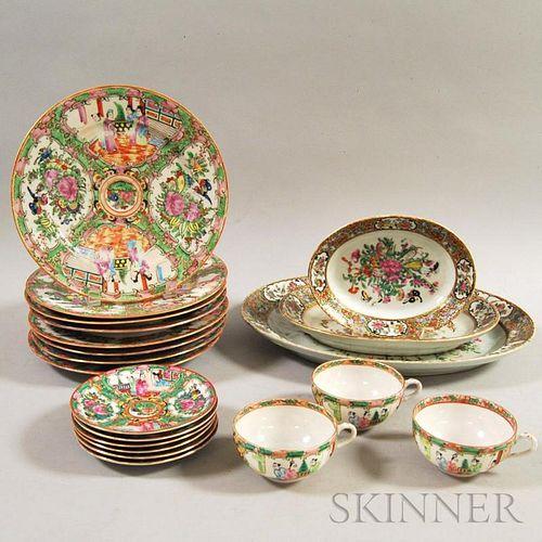 Twenty Pieces of Rose Medallion Porcelain