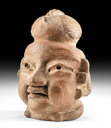 Important & Rare Olmec Pottery Head Effigy