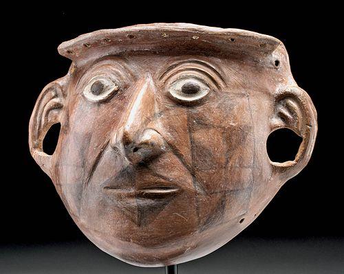 Moche Pottery Portrait Mask of a Male