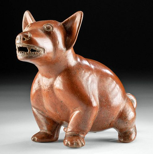 Very Fine & Large Colima Redware Dog