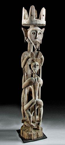 Massive 19th C. Indonesian Dayak Wood Figural Hampatong