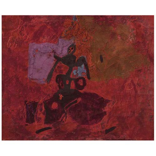 FRANCISCO TOLEDO, Torero, Firmado y fechado 64 al reverso, Óleo y arena sobre tela, 37.5 x 46 cm, Con certificado