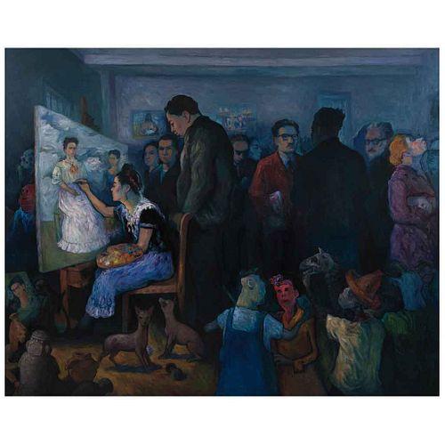 ALFREDO ALCALDE GARCÍA, El mundo de Frida Kahlo, 2021, Firmado, Óleo sobre tela, 200 x 250 cm, Con certificado