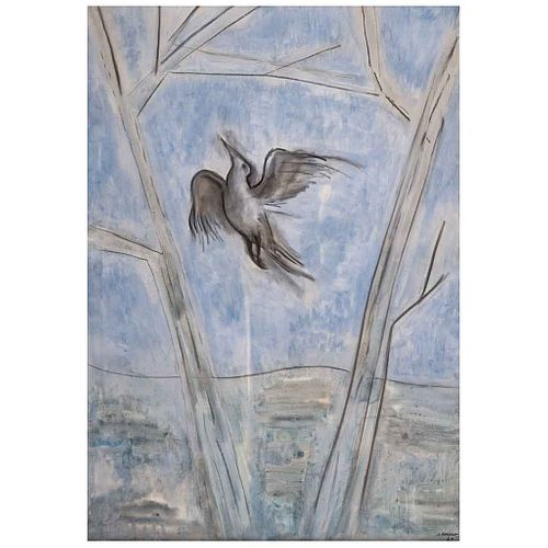 JUAN SORIANO, El pájaro y las nubes, Firmada y fechada 79, Mixta sobre tela, 115 x 80 cm, Con certificado