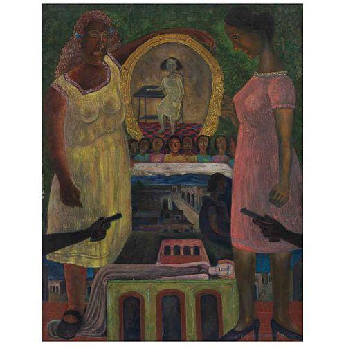RODOLFO MORALES, El duelo, Firmado y fechado 28-7-85, Óleo sobre tela, 130 x 100 cm, Con certificado
