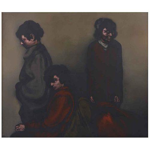 RAFAEL CORONEL, Retrato familiar, Firmado y fechado 79 al frente y al reverso, Óleo sobre tela, 165 x 175 cm, Con copia de certificado