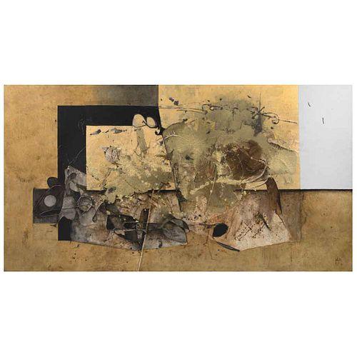 MANUEL FELGUÉREZ, Sin título, Firmado y fechado 16 al frente. Fechado 7 / 16 al reverso, Óleo sobre tela, 145 x 270.5 cm, Certificado