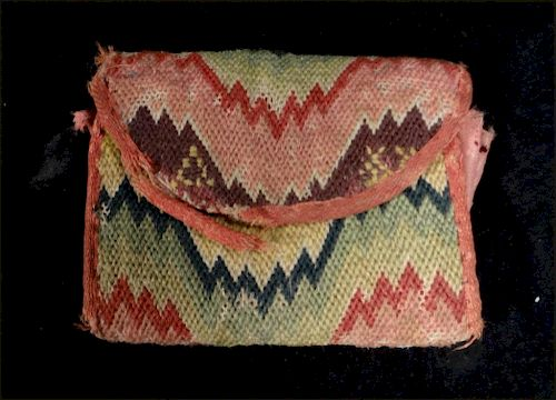 18THC. AMERICAN FLAME STITCH WALLET