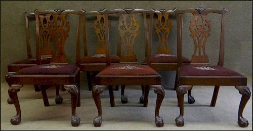SET OF 6 NY CHIPPENDALE 18THC. CHAIRS