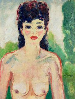 Kees van Dongen (Dutch, 1877-1968) Femme au buste nu, circa 1920 Oil on bo