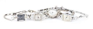 Four Ladies' Dress Watches with Diamonds