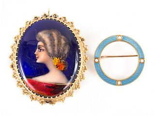 Two Gold Enamel Brooches