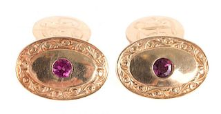 A Pair of Gentleman's Gold and Ruby Cufflinks
