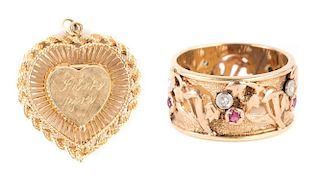 A Lady's Gold Locket and Ring