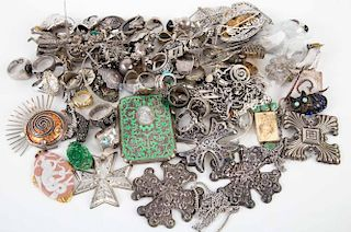 A Bag of Sterling Jewelry and Christmas Ornaments