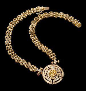 An 18K Diamond Necklace with Greek Coin