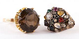 A Pair of Gold Gemstone Rings