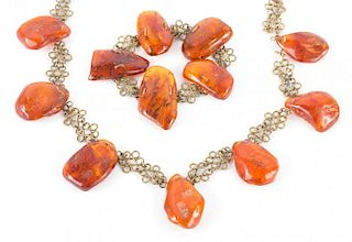 A Russian Amber Necklace and Bracelet Set