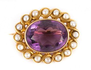 A Gold Amethyst and Pearl Brooch