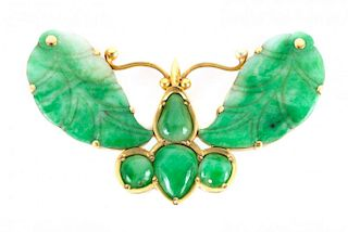 A Gold Carved Jade Butterfly Brooch