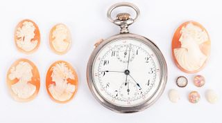 A Chronograph Pocket Watch and Loose Stones