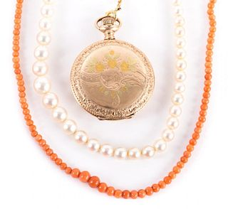 Elgin Pocket Watch and 2 Beaded Necklaces