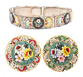 A Micro Mosaic Bracelet and Brooch Set